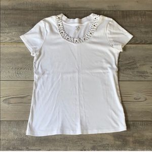 Style & co white jeweled scoopneck top